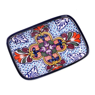 Ceramic serving plate, 'Radiant Flowers' - Mexican Talavera Style Floral Serving Platter