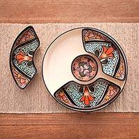 Ceramic appetizer serving set, 'Radiant Flowers' (5 pieces) - Mexican Talavera Style Ceramic Canape Platter Set (5 Pieces)