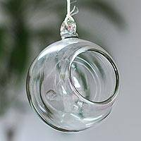 Blown glass tealight holder, 'Crystal Clear' - Handblown Clear Glass Hanging Tealight Holder from Mexico