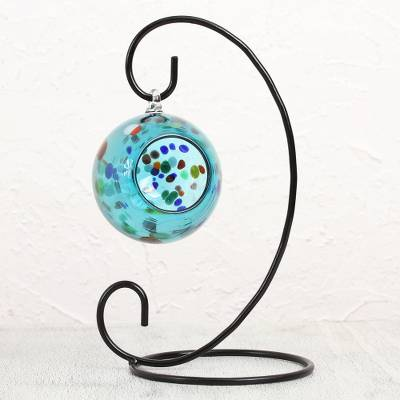 Blown glass tealight holder, 'Fun Spots' - Handblown Glass Tealight Holder with Iron Base from Mexico