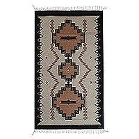 Zapotec wool area rug, 'Earth Spirals' (4x6) - Earth-Tone Zapotec Wool Area Rug (4x6) from Mexico