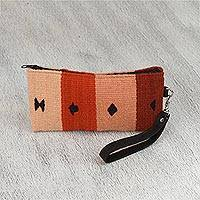 Leather accented wool wristlet, 'Coral Stripes' - Handwoven Zapotec Wool Wristlet from Mexico