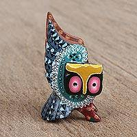 Wood alebrije figurine, 'Guardian Owl in Blue' - Hand-Painted Alebrije Wood Owl Figurine in Blue
