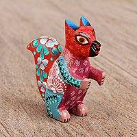 Wood alebrije figurine, 'Tree Rodent' - Alebrije Wood Squirrel Figurine in Red from Mexico