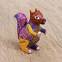 Wood alebrije figurine, 'Dainty Squirrel' - Artisan Hand-Painted Wood Alebrije Squirrel Figurine