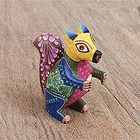 Wood alebrije figurine, 'Otherworldly Squirrel' - Hand-Carved Wood Alebrije Squirrel Figurine from Mexico