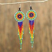 Glass beaded dangle earrings, 'Vibrant Huichol Circles' - Huichol Colorful Glass Beaded Earrings from Mexico