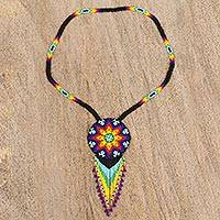 Glass beaded pendant necklace, 'Starry Huichol' - Colorful Huichol Glass Beaded Necklace from Mexico