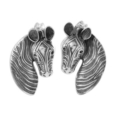 Sterling Silver Zebra Drop Earrings from Mexico