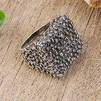 Sterling silver cocktail ring, 'Alien Landscape' - Textured Sterling Silver Cocktail Ring from Mexico