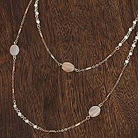 Gold plated moonstone wrap necklace, 'Glow of the Moon' - 18k Gold Plated Moonstone Wrap Necklace from Mexico