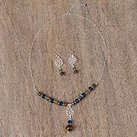 Tiger's eye jewelry set, 'Two Homes' - Floral Tiger's Eye and Crystal Jewelry Set from Mexico