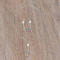 Sterling silver jewelry set, 'Colors of Guanajuato' - Floral Sterling Silver Jewelry Set from Mexico