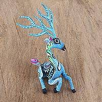 Wood alebrije statuette, 'Playful Deer' - Sky Blue Alebrije Deer with Multicolor Hand Painted Motifs