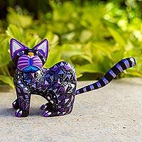 Wood alebrije figurine, 'Sophisticated Cat' - Black Alebrije Cat Silver and Purple Hand Painted Motifs