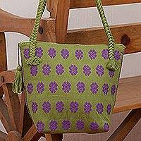 Cotton shoulder bag, 'Amethyst Garden' - Handwoven Olive Cotton Shoulder Bag with Amethyst Flowers