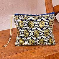 Cotton cosmetic bag, 'Dance of Yellow Sunflowers' - Geometric Cotton Cosmetic Bag in Yellow from Mexico