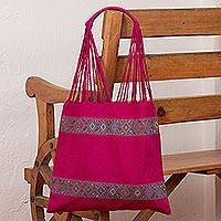 Cotton shoulder bag, 'Sweet Magenta' - Handwoven Cotton Shoulder Bag in Magenta with Rhombus Motifs
