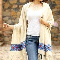 Wool shawl, 'Diamond Sea' - Handwoven Beige Wool Shawl Multicolor Diamond Brocade Border