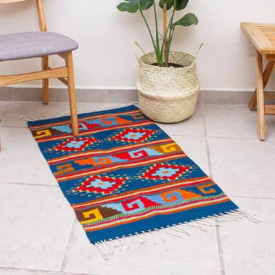 Wool area rug, 'Classic Geometry' (2x3) - Handwoven Geometric Wool Area Rug (2x3) from Mexico