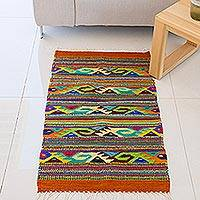 Wool area rug, 'Zapotec Greca' (2x3) - Geometric Zapotec Wool Area Rug (2x3) from Mexico