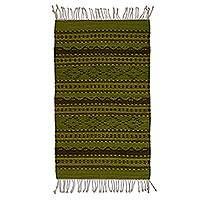 Wool area rug, 'Zapotec Mountains' (2x3) - Diamond Motif Zapotec Wool Area Rug (2x3) from Mexico