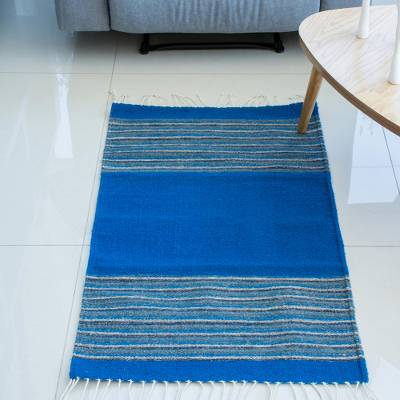 Zapotec wool area rug, 'Blue Borders' (2x3) - Handwoven Striped Wool Area Rug in Blue (2x3) from Mexico