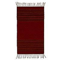 Wool area rug, 'Red Borders' (2x3) - Handwoven Striped Wool Area Rug in Red (2x3) from Mexico