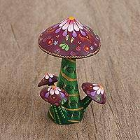 Wood figurine, 'Vibrant Mushrooms' - Multicolored Wood Mushroom Figurine from Mexico
