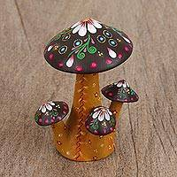 Wood figurine, 'Floral Mushrooms' - Handcrafted Wood Mushroom Figurine from Mexico