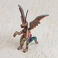 Wood alebrije figurine, 'Dragon Wonder' - Handcrafted Copal Wood Alebrije Dragon Figurine from Mexico