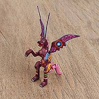 Wood alebrije figurine, 'Dragon Enchantment' - Handcrafted Copal Wood Alebrije Dragon Figurine from Mexico