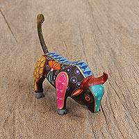 Wood alebrije figurine, 'Raging Bull' - Hand-Painted Wood Alebrije Bull Figurine from Mexico