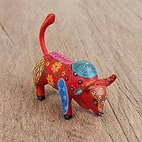Wood alebrije figurine, 'Fierce Bull' - Handcrafted Wood Alebrije Bull Figurine from Mexico