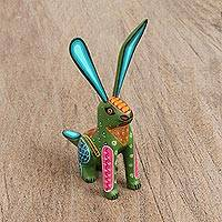 Wood alebrije figurine, 'Attentive Rabbit in Green' - Wood Alebrije Rabbit Figurine in Green from Mexico