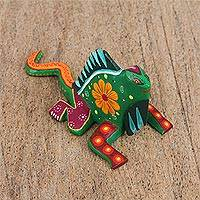 Wood alebrije figurine, 'Resting Chameleon in Green' - Floral Wood Alebrije Chameleon Figurine in Green from Mexico