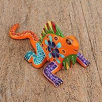 Wood alebrije figurine, 'Resting Chameleon in Orange' - Wood Alebrije Chameleon Figurine in Orange from Mexico