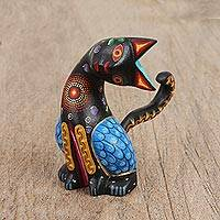 Wood alebrije figurine, 'Attentive Cat in Black' - Hand-Painted Wood Alebrije Cat Figurine in Black from Mexico