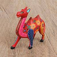 Wood alebrije figurine, 'Proud Camel' - Hand-Painted Wood Alebrije Camel Figurine in Red from Mexico