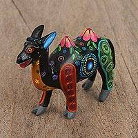 Wood alebrije figurine, 'Floral Camel' - Floral Wood Alebrije Camel Figurine in Black from Mexico