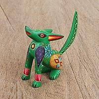 Wood alebrije figurine, 'Happy Coyote' - Floral Wood Alebrije Coyote Figurine from Mexico