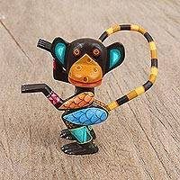 Wood alebrije figurine, 'Dancing Monkey' - Hand-Painted Wood Alebrije Monkey Figurine from Mexico