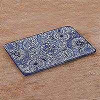 Ceramic tray, 'Paisley Blue' - Mexican Handcrafted Rectangular Blue Floral Ceramic Tray