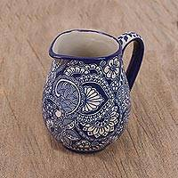 Ceramic pitcher, 'Tea Party' - Handcrafted Cobalt Blue Floral and Paisley Ceramic Pitcher