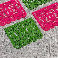 Felt coasters, 'Celebration Fun' (set of 4) - Pink and Green Felt Coasters from Mexico Set of 4)