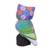 Ceramic statuette, 'Night Traveler' - Purple and Multi-Color Hand Painted Ceramic Owl Statuette (image 2d) thumbail