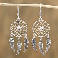 Sterling silver dangle earrings, 'Wings of Peace' - Wing Motif Sterling Silver Dangle Earrings from Mexico