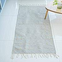 Wool area rug, 'Welcome Home' (2.5x5) - Grey Wool Rectangular Area Rug from Mexico (2.5x5)