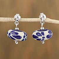 Ceramic dangle earrings, 'Fresh Rain' - Talavera-Style Ceramic Blue and White Dangle Earrings