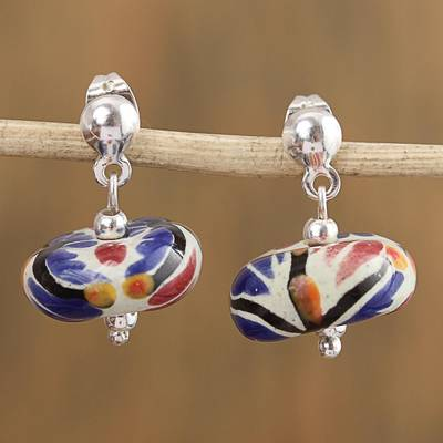 Ceramic dangle earrings, 'Harvest Garden' - Talavera-Style Ceramic Blue and Orange Dangle Earrings